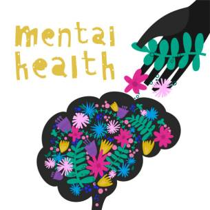Vector illustration of mental health concept with brain, flowers, helping hand